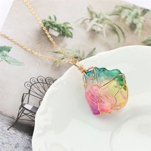 Jewelry - Rainbow Wire Wrapped Raw Stone Rock Necklace
